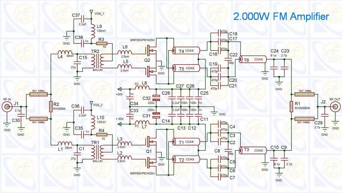 2000W FM amplifier using 2x MRFE6VP1K25H